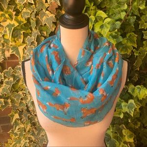 Accessories - 4 for $25 Blue infinity scarf with foxes